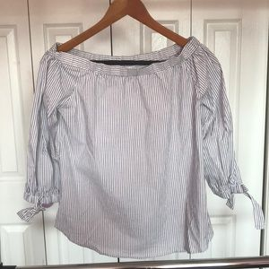 Gray Stripe Ruched Off The Shoulder Top